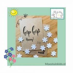 Bloeiconfetti kaart 'Hip hip hooray' - Bloom your message