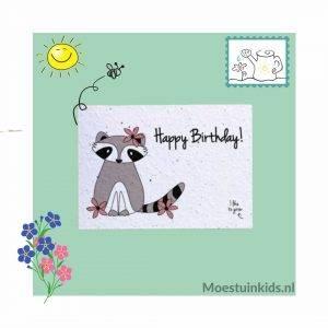 Bloeikaart 'Happy birthday' Racoon - Bloom your message