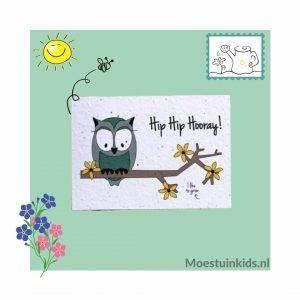 Bloeikaart 'Hip hip hooray!' Owl - Bloom your message
